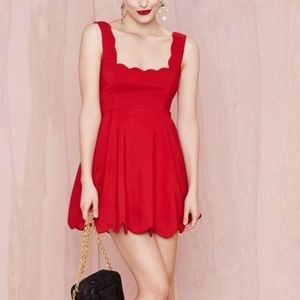Nasty Gal I'm Yours Red Scallop Dress